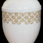 Fehér fém urna - girlanddal