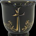 Keresztes-liliomos kerámia urna - fekete