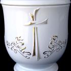 Keresztes-liliomos kerámia urna - fehér