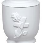 38 - Rózsa-keresztes kerámia urna - fehér