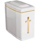 102a - fehér aranyozott keresztes ikerurna