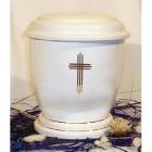 P - Vékony keresztes fehér kerámia urna