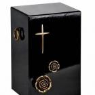 Lakkozott fekete fa urna