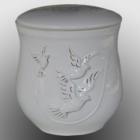 Mázas kőagyag kerámia urna, 22 karátos arany festéssel - galambos fehér