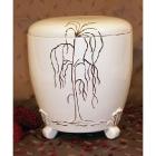 Kézi festett urna - talpas fűzfás