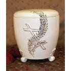 Kézi festett urna - talpas ágas kereszt