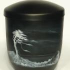 Cédrus - kézzel festett fekete fém urna