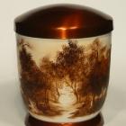 Erdő - kézzel festett fém urna