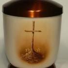 Kereszt - kézzel festett fém urna
