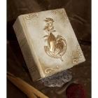 Könyv urna rózsa-kéz motívummal - fehér-arany árnyalat