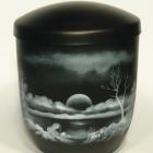 Naplemente - kézzel festett fekete fém urna
