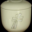 Ekrü opál keresztes üveg urna