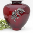 Piros rózsaág öblös fém urna