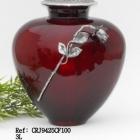 Öblös rózsás vörös fém urna
