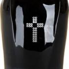 Fekete kerámia urna strassz kereszttel