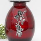Kéz és rózsa piros fém urna