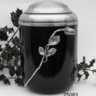 Rózsás fekete fém urna