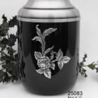 Virágos fekete fém urna