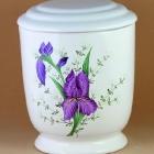 Kézzel festett lila virágos urna